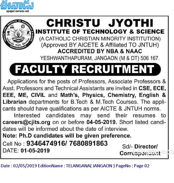 Best Engineering College in Jangaon, Telangana | cjits